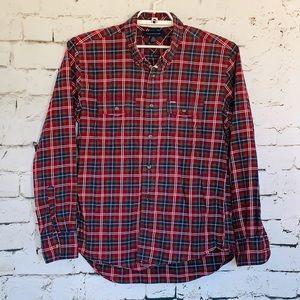 Men's TOMMY HILFIGER Shirt Blue Red Green Plaid L